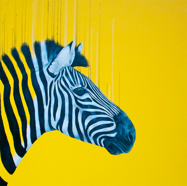 Fluorescent Mixed Media Animals by Louise McNaught mixed media illustration animals