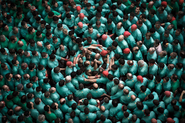 The 2012 Human Tower Competition in Tarragona, Spain stunts Spain multiples castellers