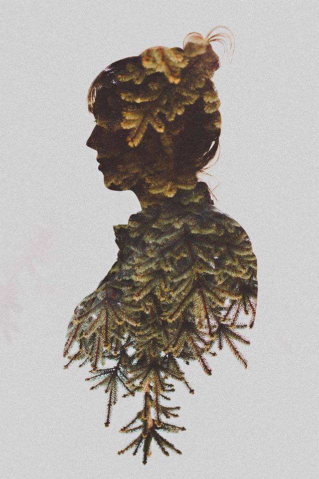 Double Exposure Portraits by Sara K Byrne plants multiple exposures flowers