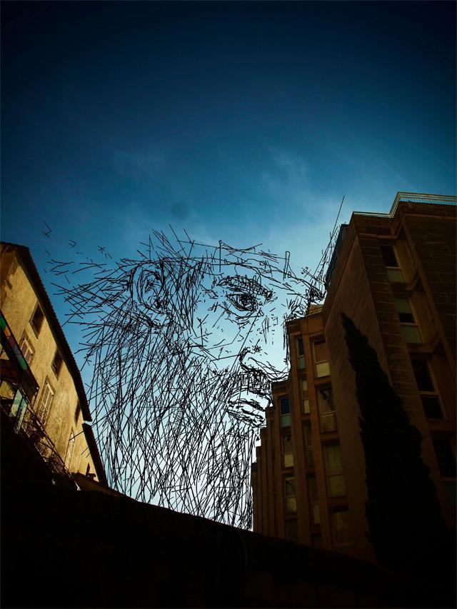 Sky Art: Thomas Lamadieu Illustrates in the Sky Between Buildings sky illustration