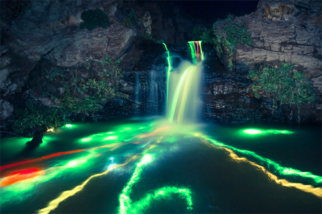 Long Exposure Neon Waterfalls waterfalls neon long exposure light California