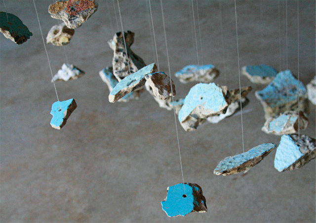 Pool, The Alchemy of Blue—Found Concrete Installations by Lizzie Buckmaster Dove rocks moon land art installation
