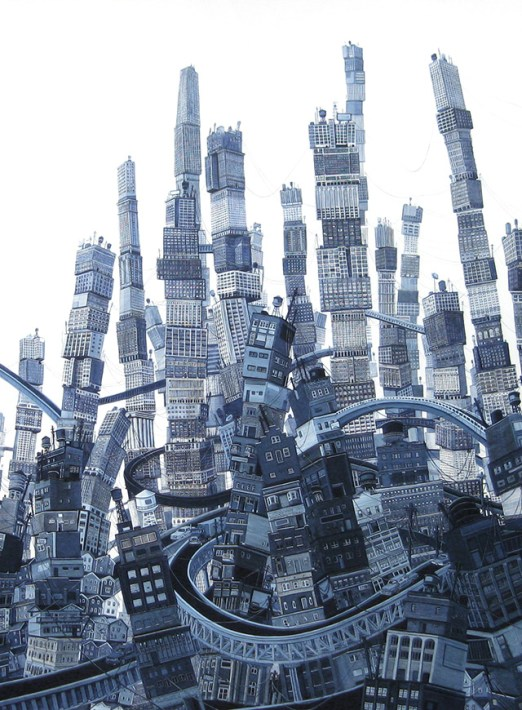 Putting Down Roots: New Paintings of Urban Growth and Turmoil by Amy Casey urban painting