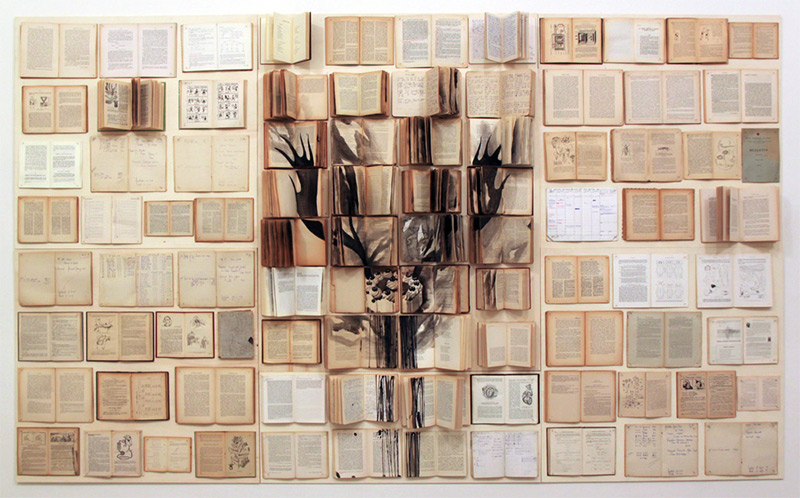 Book Paintings by Ekaterina Panikanova painting installation collage books