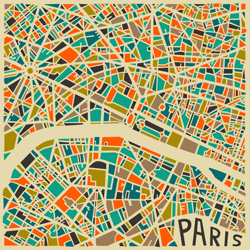 Modern Abstract City Maps Paris New York Milan maps London
