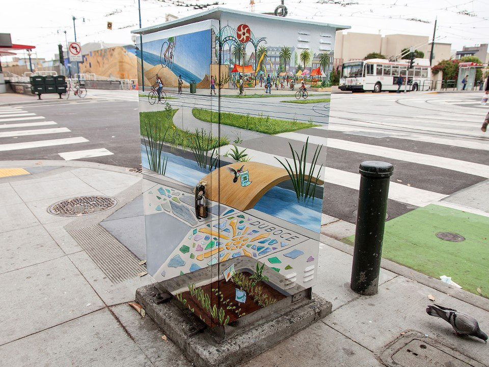 Manifest Station: A Transparent Utility Box Painted by Mona Caron street art painting optical illusion murals