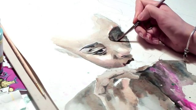 Speed Painting Timelapse by Lora Zombie watercolor timelapse painting