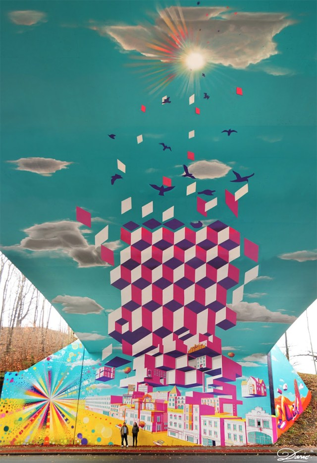 Overpass Illusion and Other Murals by Dasic street art murals bridges