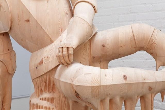 Artist Morgan Herrin Transforms Construction Grade Lumber into Surreal Classical Sculptures wood sculpture