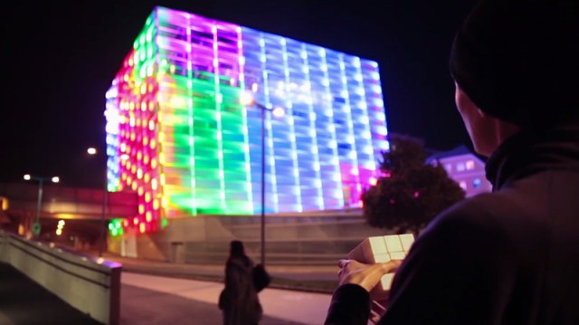 Puzzle Facade: Ars Electronica's Media Building Turned into a Giant Interactive Rubik's Cube puzzles light interactive games