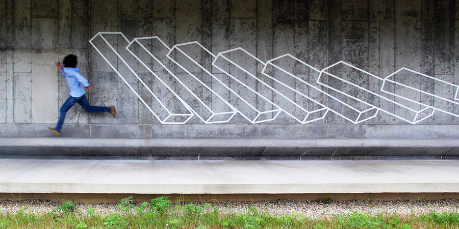 New Geometric Tape Art from Aakash Nihalani	 tape street art geometric