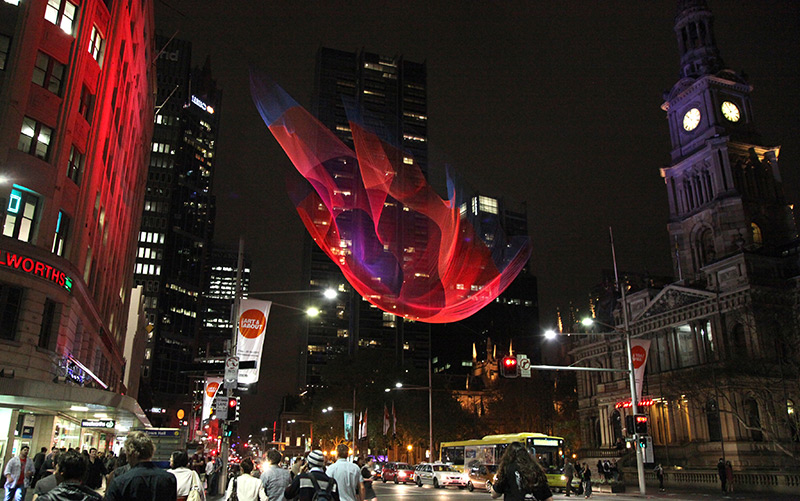 Giant Suspended Net Installations by Janet Echelman Vancouver nets installation