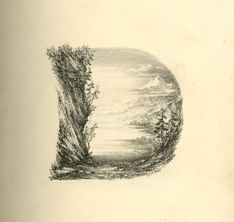 A 19th Century Lithographer Transforms the Alphabet into a Series of Sweeping Landscapes typography lithographs landscapes illustration alphabet