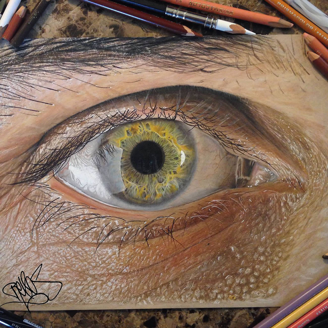 Hyperrealistic Eyes Drawn with Colored Pencils illustration eyes drawing