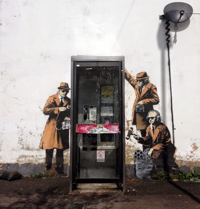 Mobile Lovers & Spy Booth: New Murals from Banksy street art murals