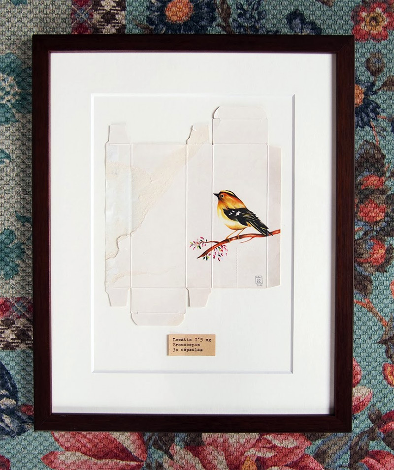 Birds Painted on Unfolded Pharmaceutical Boxes by Sara Landeta painting birds