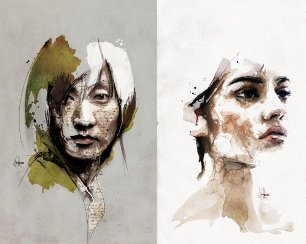 Mixed Media Portraits Florian Nicolle Colossal