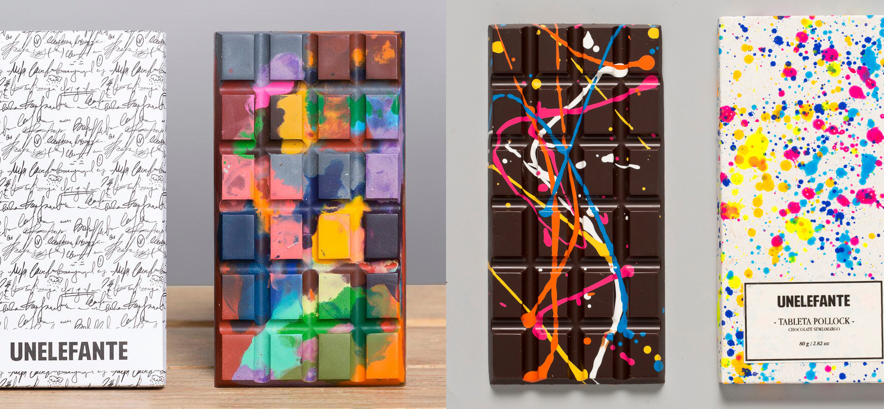 Edible Crayon and PaintSplattered Chocolate Bars by
