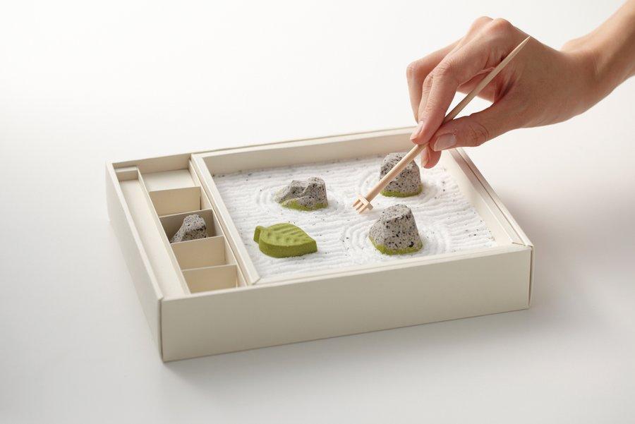 An Edible Zen Rock Garden Made From Japanese Sweets zen rocks Japan gardening food candy
