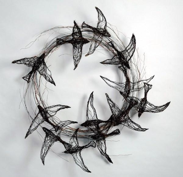 Bird Sculptures Constructed Wire Celia Smith