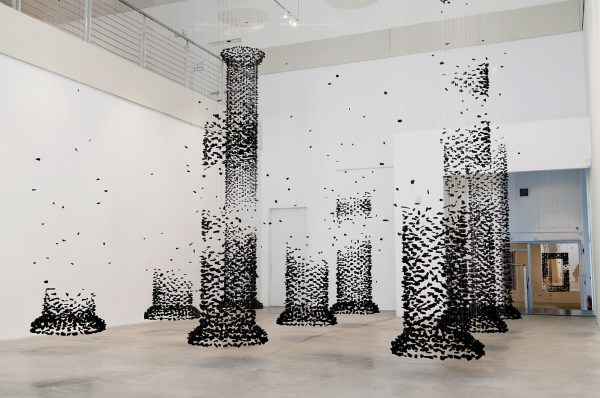 Architectural Columns Constructed Suspended Charcoal Seon Ghi Bahk Colossal
