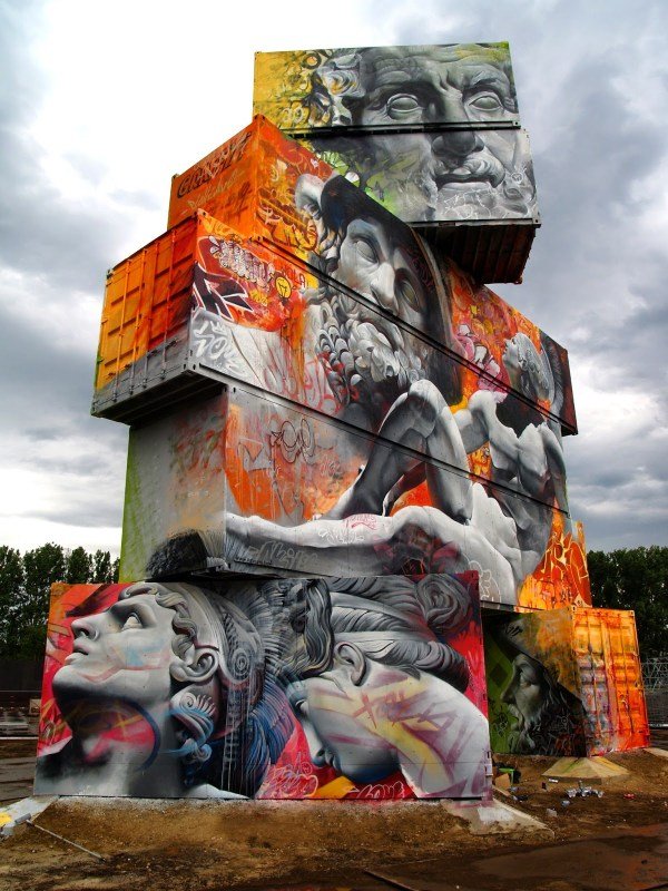 Architectural Canvas Of Shipping Containers Painted