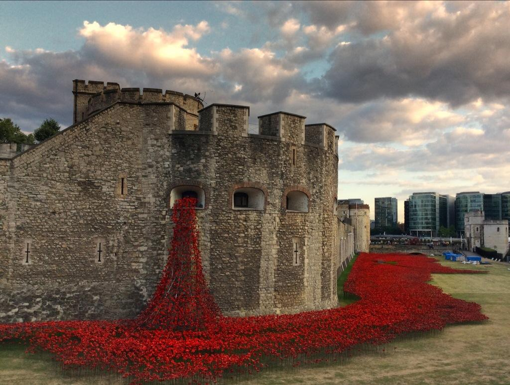 888,246 Ceramic Poppies Surround the Tower of London to Commemorate WWI WWI multiples London installation flowers ceramics blood