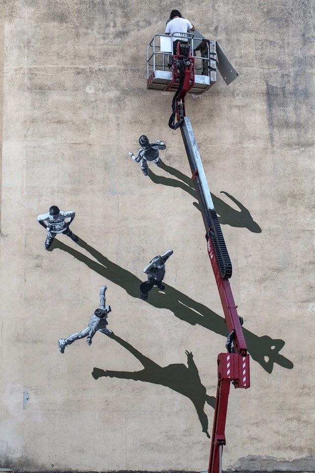 Shadowy Optical Illusion Mural by Strøk in Italy street art stencils shadows murals