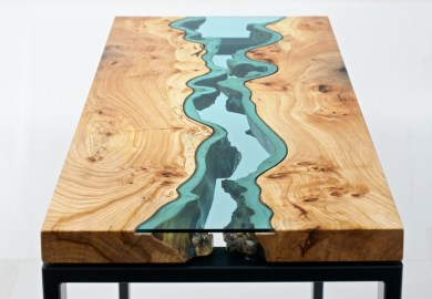 Glass Wood Table