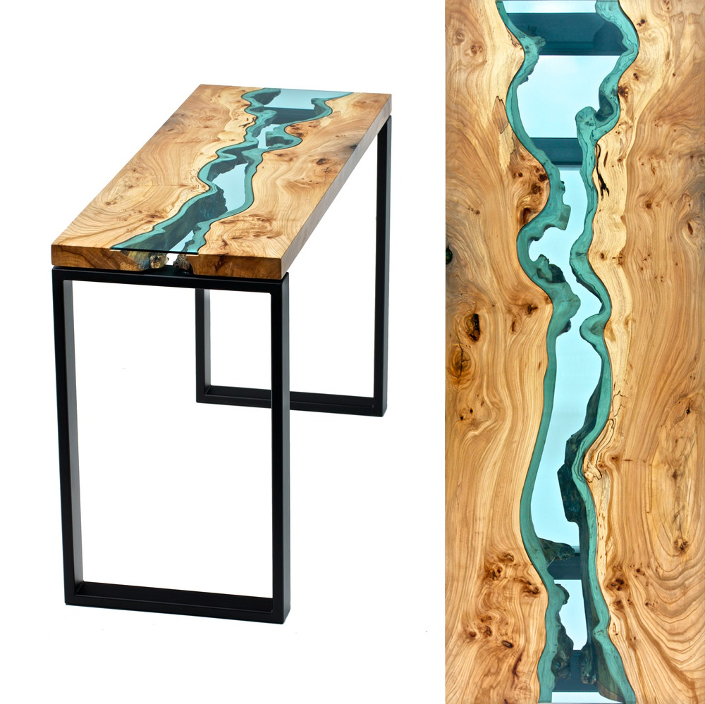 Table Topography Wood Furniture Embedded with Glass Rivers and Lakes by Greg Klassen  Colossal