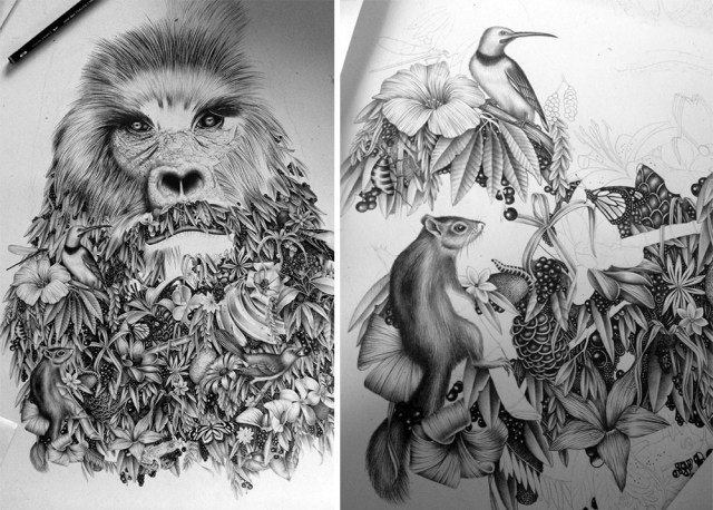 Surreal Graphite Drawings by Violaine & Jeremy Merge Nature and Humor surreal illustration drawing animals