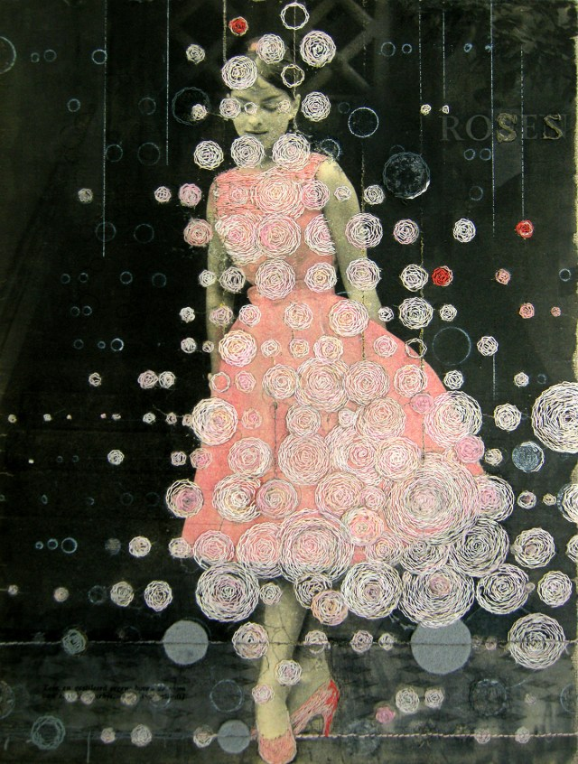 Artist Hinke Schreuders Alters 1950s Advertising and Fashion Photography with Hand Stitched Embroidery mixed media fashion embroidery