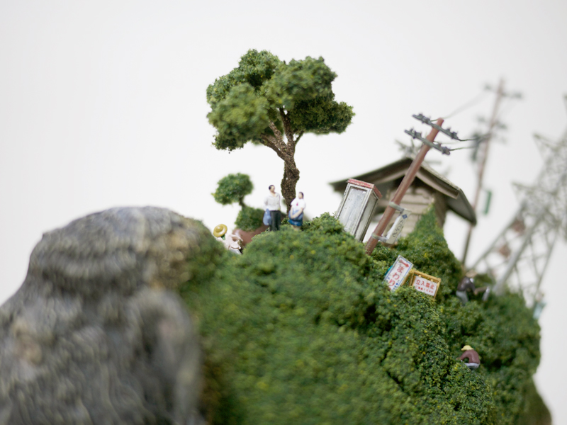 Toy Mammals and Dinosaurs Burdened with Miniature Civilizations by Maico Akiba toys sculpture miniature dioramas