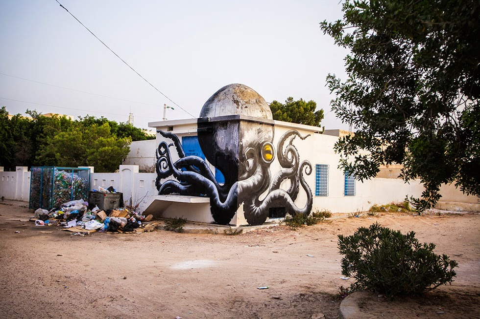 Fun New Murals by ROA Utilize Tunisias Domed Architecture Tunisia street art murals