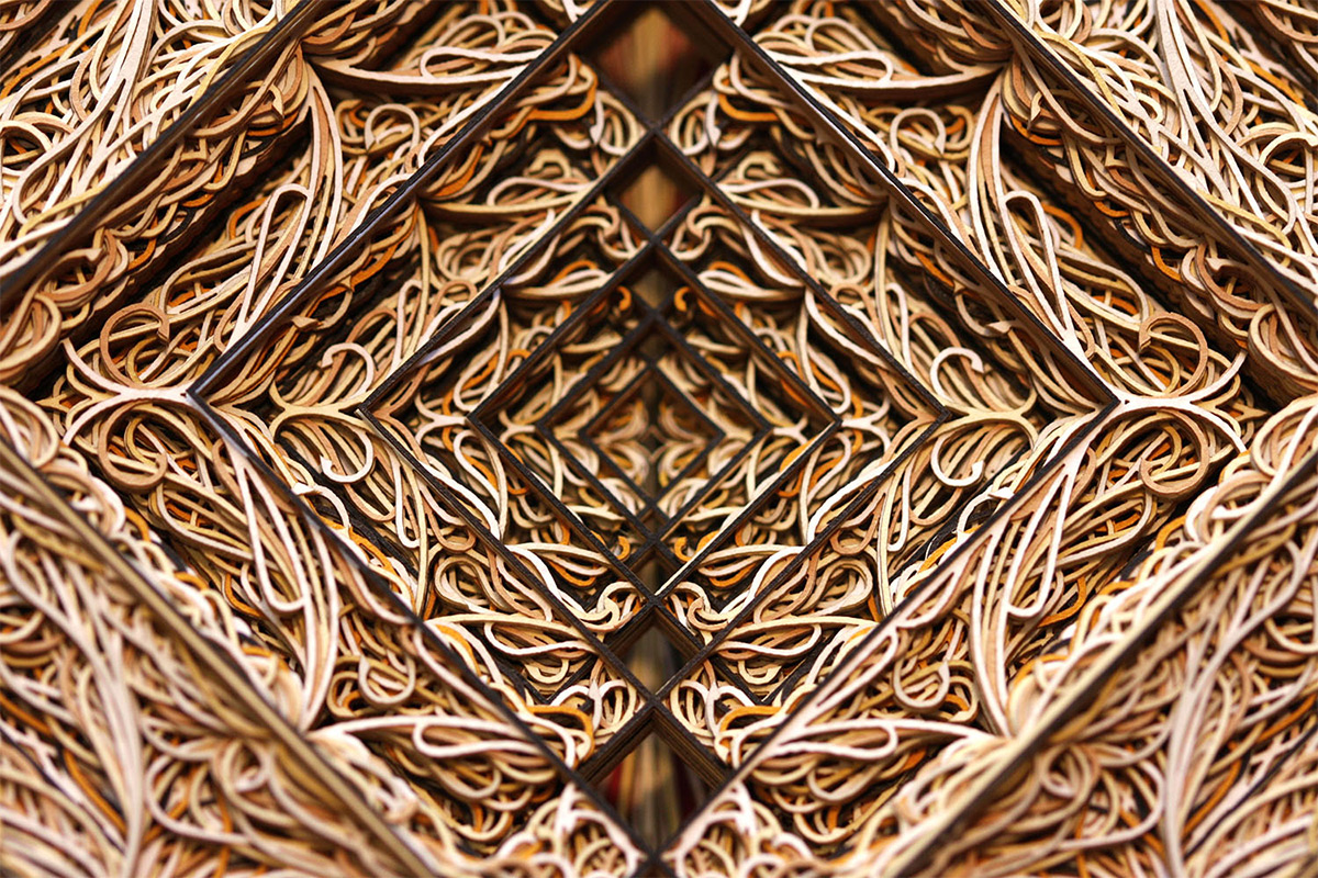 New Stained Glass Windows Made from Stacked Laser Cut Paper by Eric Standley sculpture paper