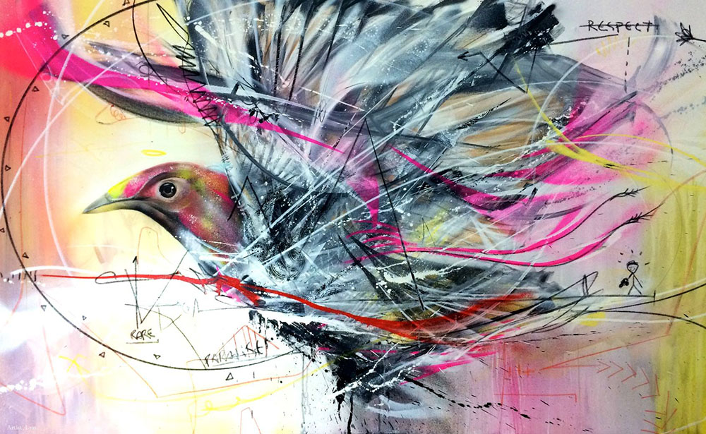 Frenetic Spray Painted Birds By L7m Colossal