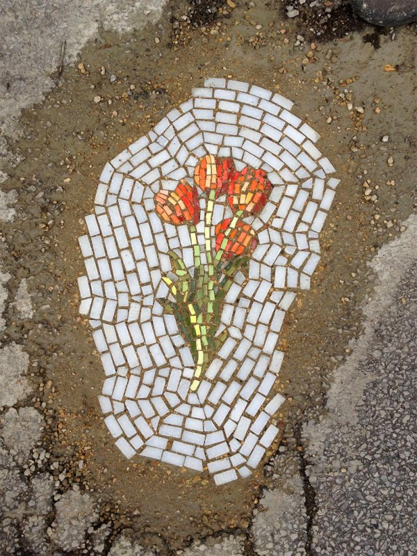 Guerilla Mosaic Artist Filling Chicago Potholes With Flowers Colossal