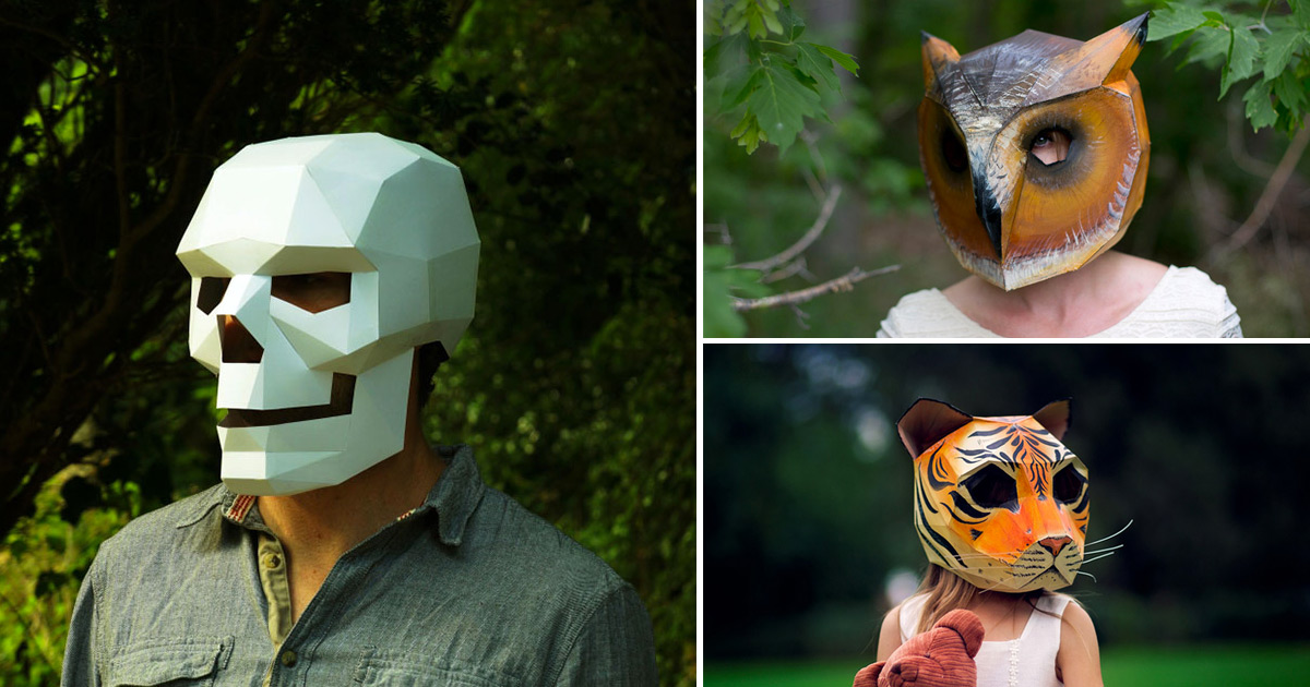 DIY Geometric Paper Masks by Steve Wintercroft  Colossal