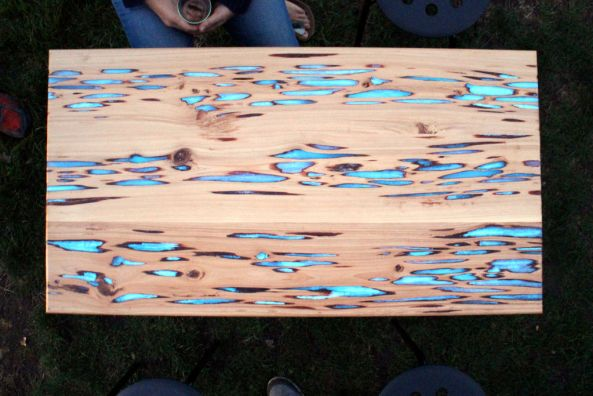 Wood Tables Embedded with Photoluminescent Resin by Mike Warren wood resin furniture