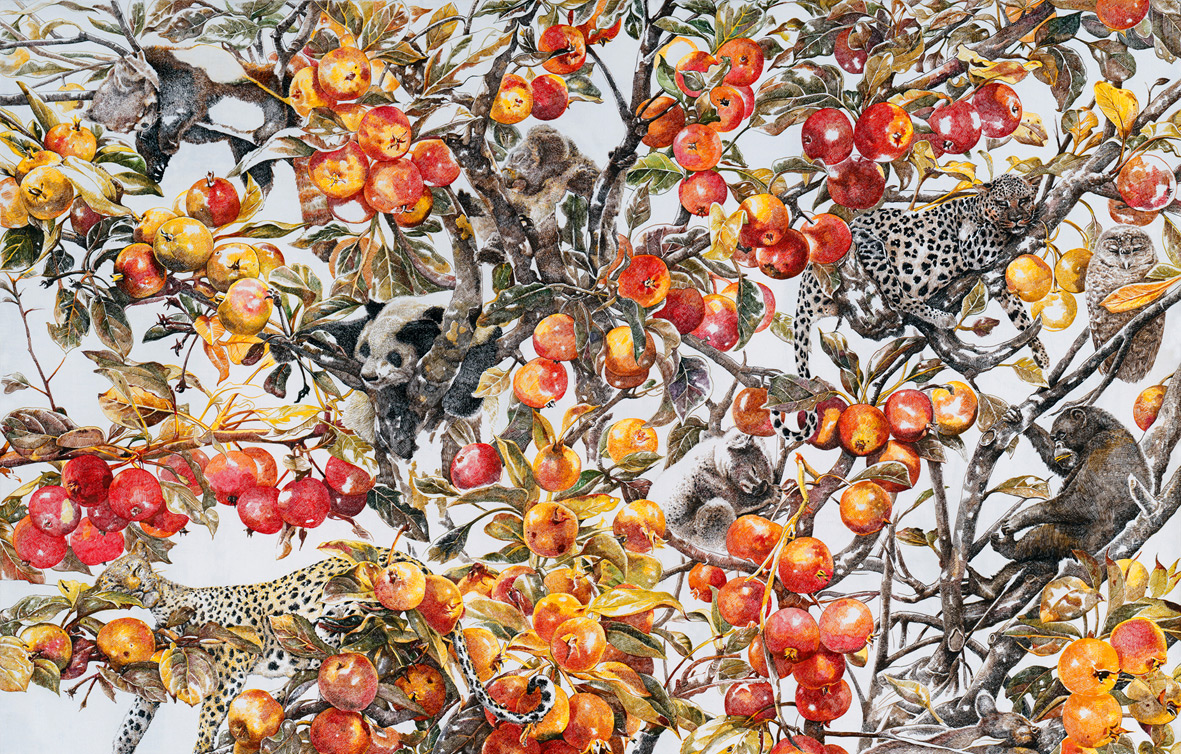 Drunk in Autumn: A Towering New Acrylic Ink Drawing by Zhao Na nature drawing
