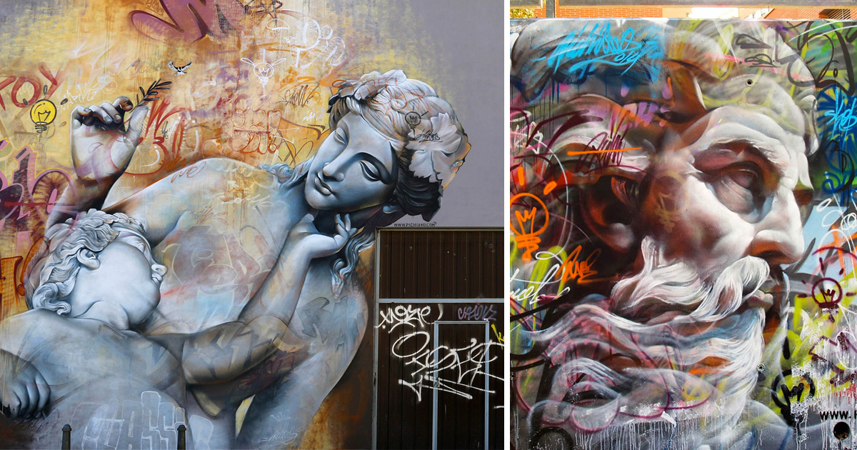 Murals of Greek Gods Rendered Against a Chaotic Backdrop of Graffiti by Pichi  Avo  Colossal