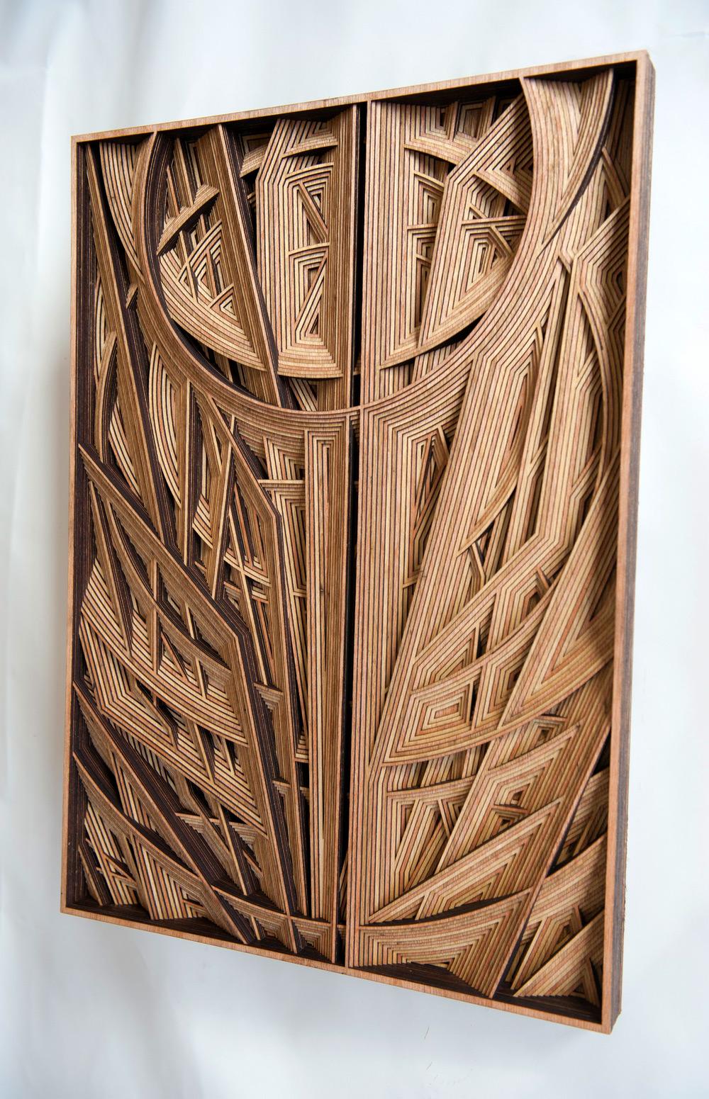 Geometric LaserCut Wood Relief Sculptures by Gabriel
