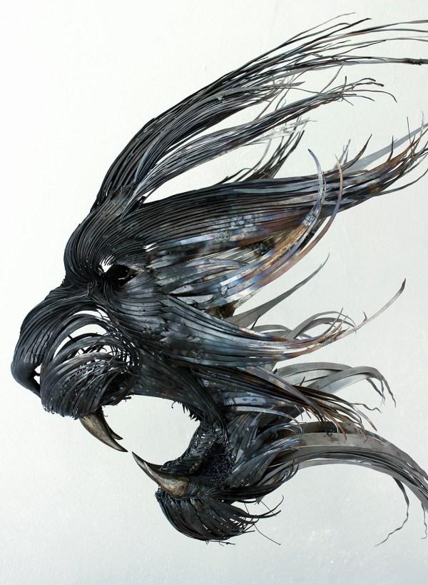 Hammered Steel Animal Head Sculptures Seluk Lmaz