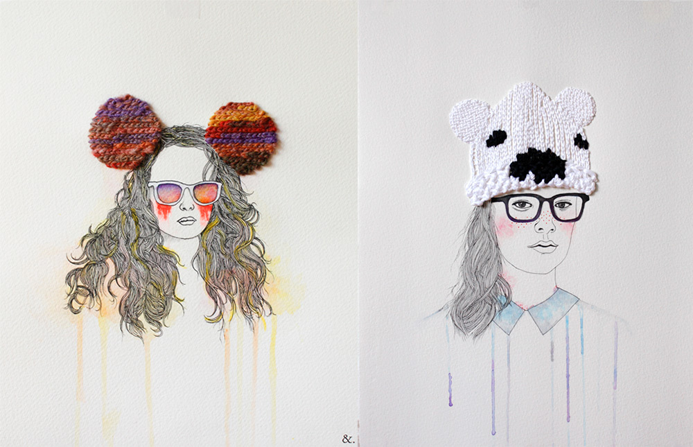 Fashion Illustrations with Embroidered Accents and Accessories by Izziyana Suhaimi  Colossal