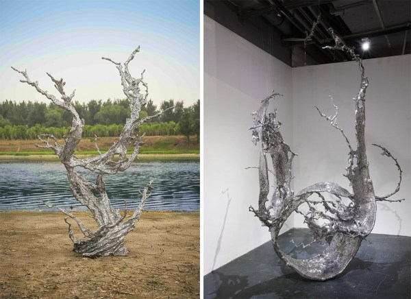 Monumental Splashes Of Stainless Steel Calligraphy