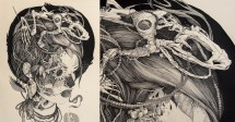 sprawling tattoo-inspired ink drawings