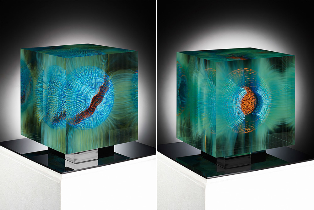 Optical Float Paintings Suspended in Layers of Glass by