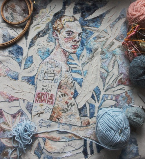 Embroidered Art Lisa Smirnova Embroideries Thread Painting Tattooed Man Surrounded by Threads Yarn and Floss