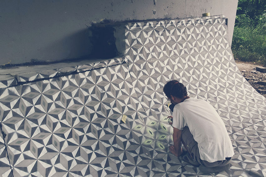 New Spray Painted Tile Floor Patterns in Abandoned Spaces