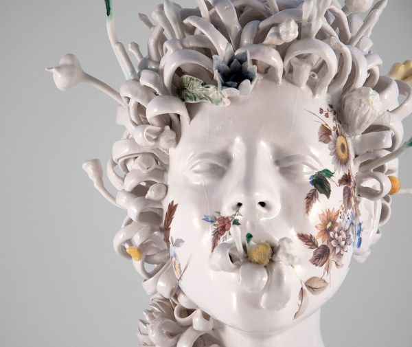 Ceramic Busts Overgrown With Twisted Vines And Colorful Flowers Jess Riva Cooper Colossal